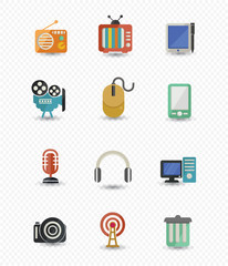 Technology & Media icons on blank background,vector