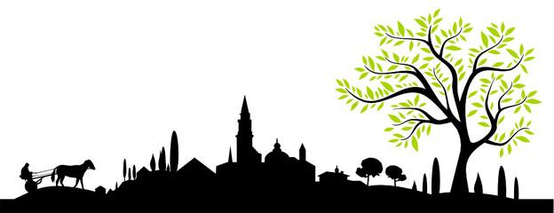 Landschaft Skyline Südeuropa mit Baum