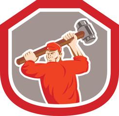 Union Worker Striking Smashhammer Shield Retro