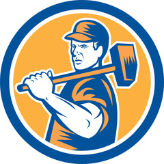 Union Worker Holding Sledgehammer Circle Retro