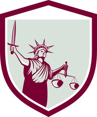 Statue of Liberty Holding Sword Scales Justice Shield