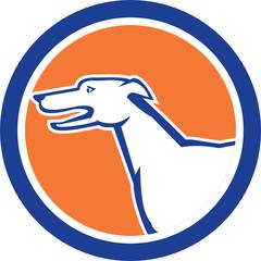 Greyhound Dog Head Side Retro Circle