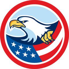 American Bald Eagle Clutching Flag Circle Retro