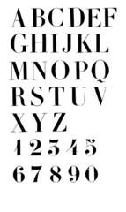 Alphabet et chiffres en vecteur individuels