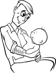 father with baby cartoon coloring page