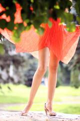 Beautiful female legs outdoor