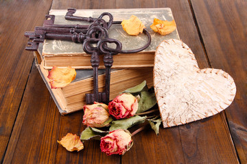 Beautiful composition with old key and old books