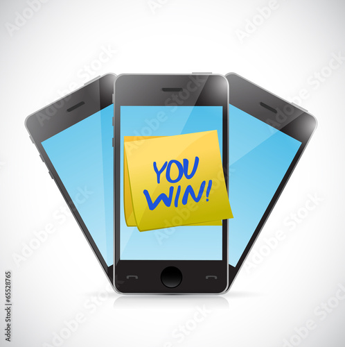 phones and you win message illustration design