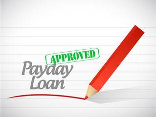 approved payday loan stamp illustration design