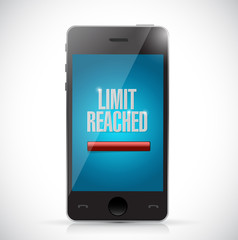 limit reached message on a phone. illustration