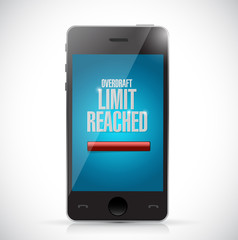 overdraft limit reached message on a phone