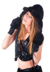beautiful girl in cat costume