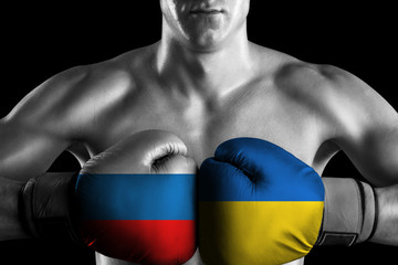 B&W fighter with Russia and Ukraine color gloves