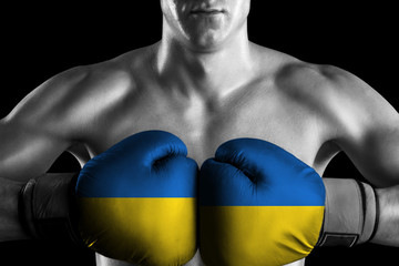 B&W fighter with Ukraine color gloves
