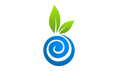 eco water and leaf in circle logo