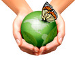Green world with leaf and butterfly in woman hands. Vector illus