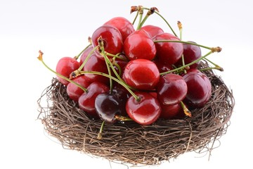 Sweet cherries in a nest