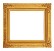 Gold vintage photo frame clipping path.
