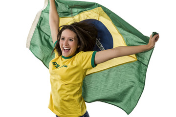 Female Brazilian fan celebrating