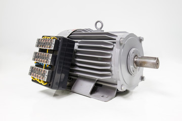 Electric motor with control panel on the white background