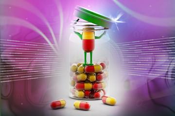 Pills and bottle,3d rendered illustration