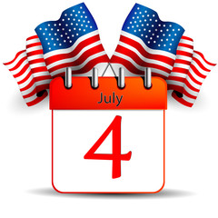 4 july calendar with flags