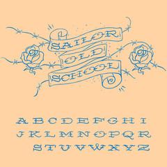 Old-school styled tattoo alphabet set