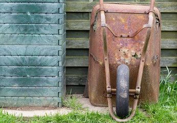 Old rusted wheelbarrow