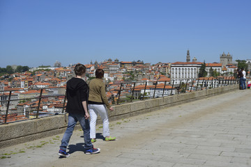 Vila nova Gaia viewpoint overlooking the city of Porto, Portugal