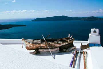 An old boat on a roof