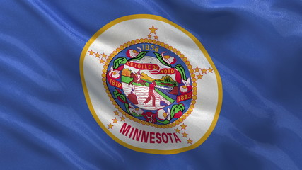 US state flag of Minnesota waving in the wind - seamless loop
