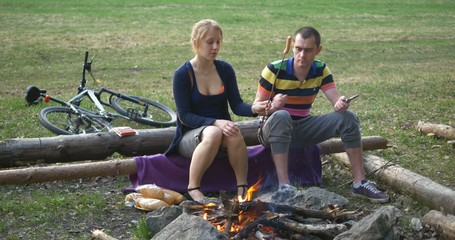 young couple at camping. ultra HD 4K video