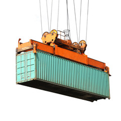 shipping containers during transport isolated on white