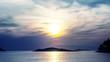 Colorful sunset on island Mljet, Dubrovnik archipelago, Croatia.