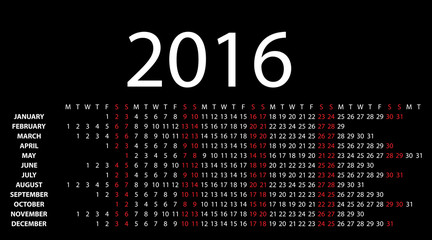 Horizontal calendar for 2016 on black. Vector EPS10.