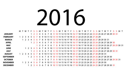 Horizontal calendar for 2016 on white. Vector EPS10.