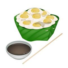 Fried Quail Eggs in Counts Banana Leaf