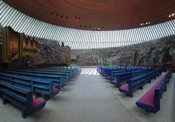 Interior of the Temppeliaukio Church in Helsinki, Finland