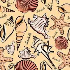 seashells seamless pattern background vector ,illustration