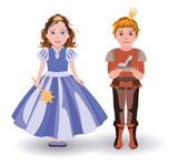Cinderella princess and  prince with glass slipper vector poster