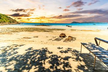 Colorful sunset on island