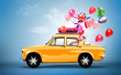 Retro car with balloons. travel concept