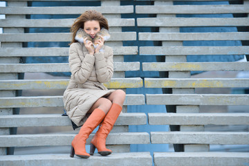 Woman on the street stairs