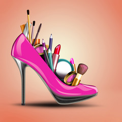 Cosmetic set in woman shoe