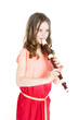 young girl with alto recorder