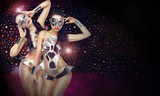 Disco Club. Women in Stagy Costumes Dancing. Abstract Background
