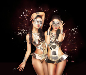 Firework. Fancy Dress Party. Showgirls over Sparkling Background