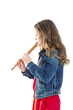 young girl with soprano recorder