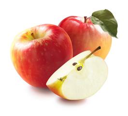 Honeycrisp apples and quarter isolated on white background optio