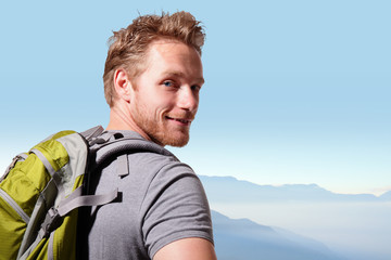 Successful man mountain hiker